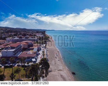 Chalkidiki, Greece Coastal Village Landscape Drone Shot With Seaside Hotel. Aerial Day View Of Hanio