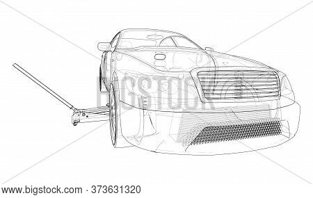 Concept Car With Floor Car Jack. Vector Rendering Of 3d. Wire-frame Style. The Layers Of Visible And