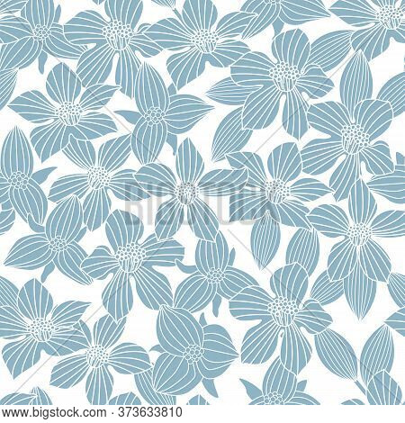 Vector Floral Silhouettes In Blue On White Background Seamless Repeat Pattern. Background For Textil