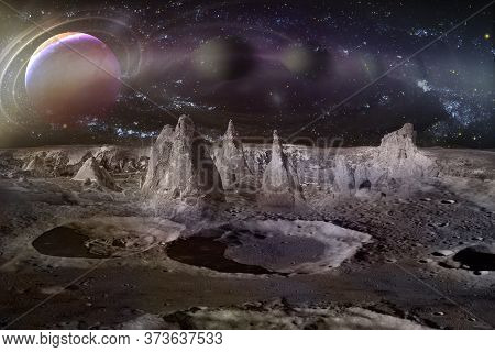 Alien Planet Landscape With Craters, Mountains And Moons. Elements Of This Image Furnished By Nasa.