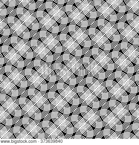 Design Seamless Monochrome Grating Pattern. Abstract Interlaced Background. Vector Art