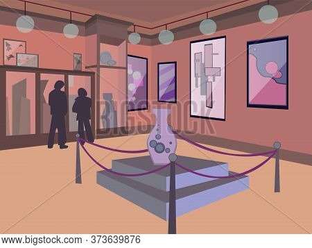 Museum Interior Illustration. Interior Gallery, Museum Interior With Modern Artworks On Walls, Sculp
