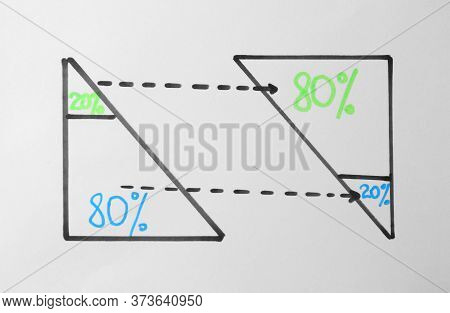 80/20 Rule Representation On White Background. Pareto Principle Concept