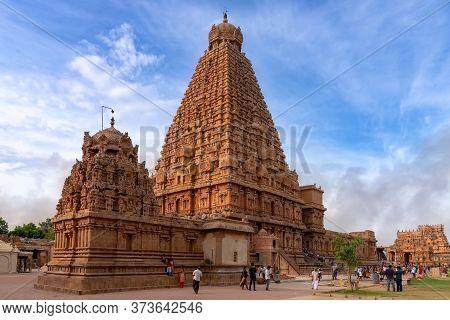 Thanjavur, India - August 22, 2018: View Of The Majestic Brihadisvara Temple With Pilgrims. This Hin