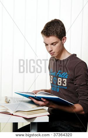 a young student when learning with books poster