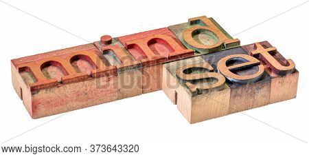mindset - isolated word abstract in letterpress wood type printing blocks, thinking and attitude concept