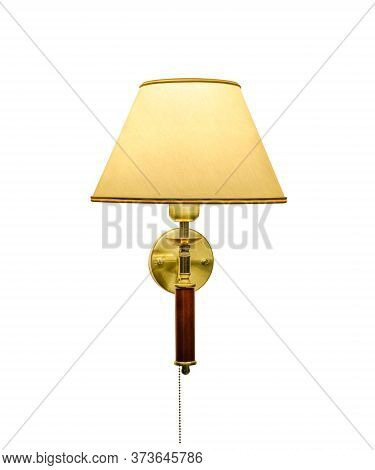 Classic Sconce With Turned On Bulb Under Lampshade. Shadowless Isolated On White Background