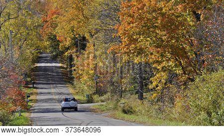 Milton, Ontario / Canada - 10/19/2008:  The Landscape Of Mountain Road At Niagara Escarpment With Au