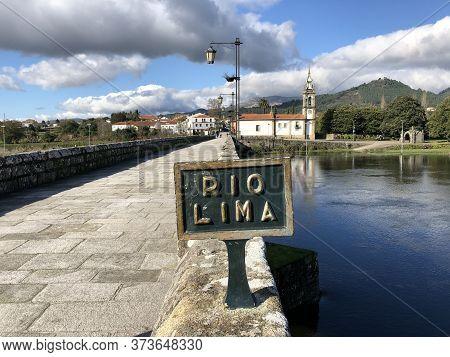 Ponte De Lima Portugal North Porto Bridge Cloudy Cloud Sky Church River Reflection Green Grey Blue N