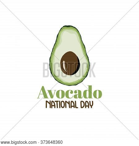 Vector Illustration On The Theme Of National Avocado Day On July 31. Hand-drawn Avocado Half On A Wh