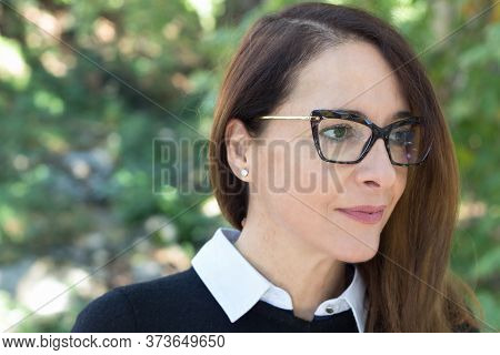 Portrait Of A Mature Woman, 46 Years, Looking Away, Outdoors, Wearing Glasses, Cat Style, Profile Vi