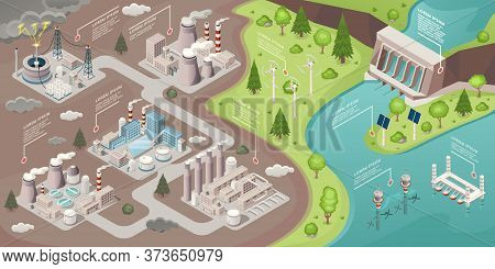 Alternative Energy, Green Power And Eco Environment, Vector Isometric Ecological Concept. Alternativ