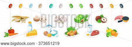 Vitamins In Food, Healthy Nutrition Fruits, Vegetables And Meat, Vector Healthy Eating Infographics.