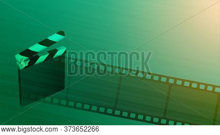 Clapper Board With Film Reel Cinema Movie Background