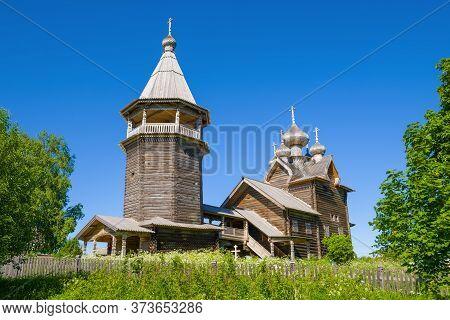 Old Wooden Church Of Dmitry Solunsky Myrrh-streaming Close Up On A Sunny June Day. Shcheleyki, Lenin