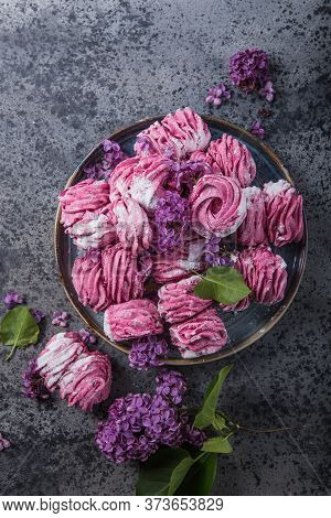 Russian Pink Zephyr On Concrete  Background. Set Of Homemade Marshmallow Meringue, Pansy. Sweetness