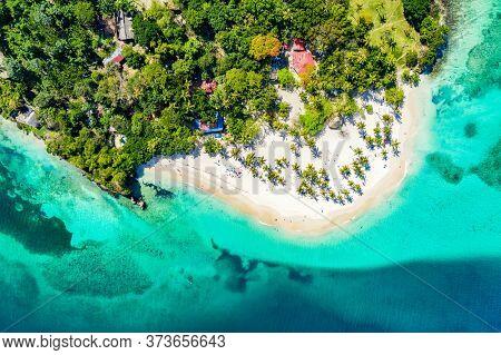 Aerial Drone View Of Beautiful Caribbean Tropical Island Cayo Levantado Beach With Palms. Bacardi Is