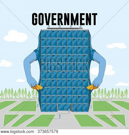 Cartoon Of A Modern Blue Government Building With Arms Reaching Into Empty Pockets, Signaling That H