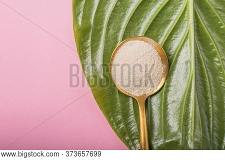 Collagen Powder Over Green Textured Leaf Background With Copy Space. Dietary Nutritional Supplement.