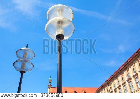 Street Lights In The Central Parts Of The City.street Lamps In The Daytime