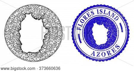 Mesh Subtracted Round Flores Island Of Azores Map And Scratched Seal Stamp. Flores Island Of Azores
