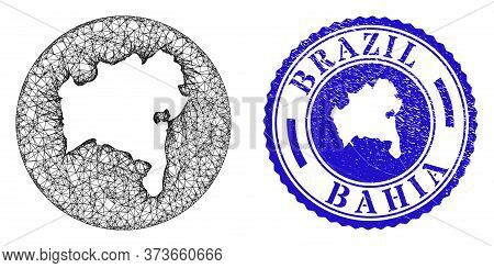 Mesh Subtracted Round Bahia State Map And Grunge Seal Stamp. Bahia State Map Is A Hole In A Circle S
