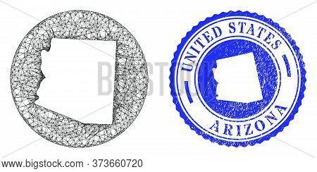 Mesh Subtracted Round Arizona State Map And Grunge Stamp. Arizona State Map Is A Hole In A Round Sea
