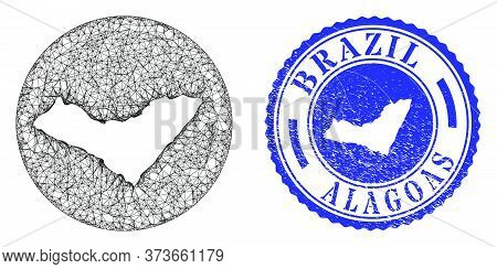 Mesh Stencil Round Alagoas State Map And Grunge Seal Stamp. Alagoas State Map Is Stencil In A Round