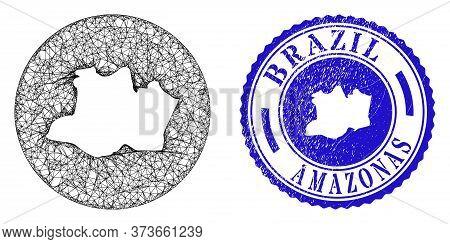 Mesh Hole Round Amazonas State Map And Grunge Stamp. Amazonas State Map Is A Hole In A Round Stamp.