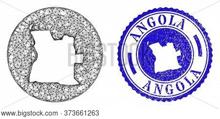 Mesh Hole Round Angola Map And Scratched Seal. Angola Map Is Carved In A Round Stamp Seal. Web Mesh