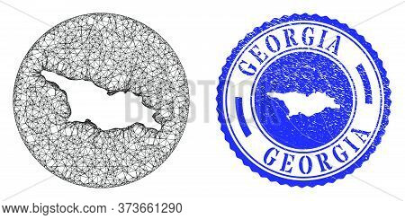 Mesh Inverted Round Georgia Map And Grunge Seal. Georgia Map Is A Hole In A Round Seal. Web Carcass