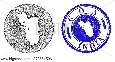 Mesh Subtracted Round Goa State Map And Scratched Seal Stamp. Goa State Map Is A Hole In A Circle St