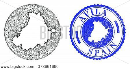 Mesh Stencil Round Avila Province Map And Grunge Seal Stamp. Avila Province Map Is A Hole In A Circl