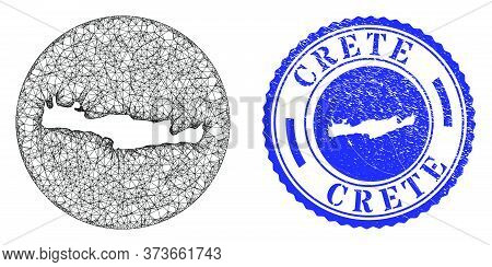 Mesh Subtracted Round Crete Map And Grunge Seal Stamp. Crete Map Is A Hole In A Round Stamp Seal. We