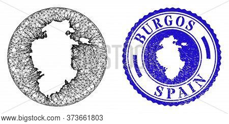 Mesh Stencil Round Burgos Province Map And Grunge Seal Stamp. Burgos Province Map Is Inverted In A R