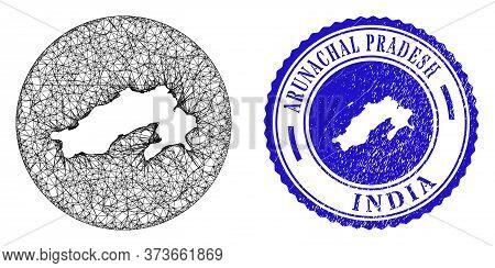 Mesh Inverted Round Arunachal Pradesh State Map And Grunge Seal Stamp. Arunachal Pradesh State Map I
