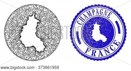 Mesh Subtracted Round Champagne Province Map And Grunge Seal Stamp. Champagne Province Map Is Carved