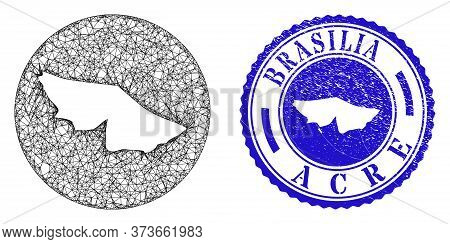 Mesh Stencil Round Acre State Map And Grunge Seal Stamp. Acre State Map Is Stencil In A Round Stamp
