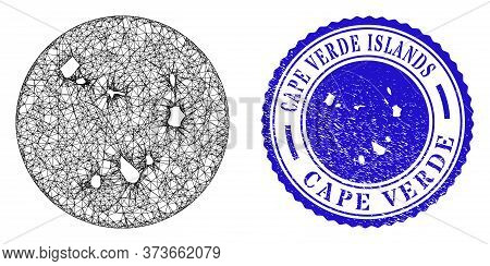 Mesh Stencil Round Cape Verde Islands Map And Grunge Seal Stamp. Cape Verde Islands Map Is Stencil I