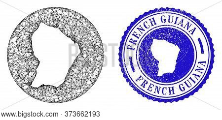 Mesh Subtracted Round French Guiana Map And Scratched Seal Stamp. French Guiana Map Is Inverted In A