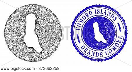 Mesh Inverted Round Grande Comore Island Map And Grunge Seal Stamp. Grande Comore Island Map Is Inve