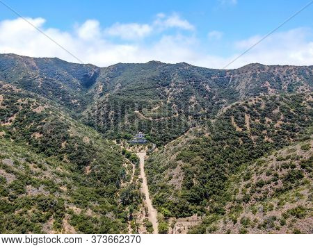 Aerial View Of Wrigley Memorial And Botanic Garden On Santa Catalina Island, California, Usa. June 2
