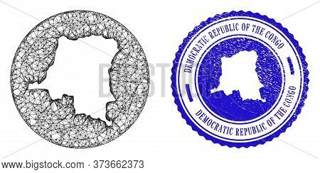 Mesh Hole Round Democratic Republic Of The Congo Map And Scratched Stamp. Democratic Republic Of The