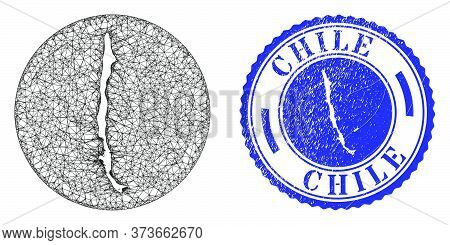 Mesh Inverted Round Chile Map And Grunge Seal. Chile Map Is A Hole In A Round Stamp Seal. Web Net Ve