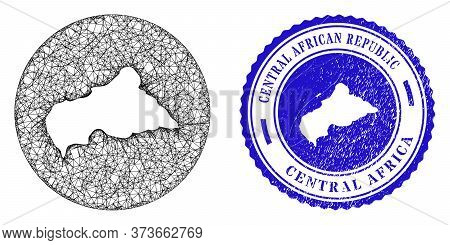 Mesh Hole Round Central African Republic Map And Scratched Stamp. Central African Republic Map Is A