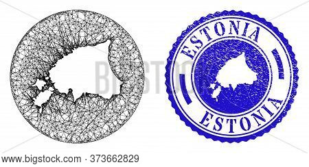 Mesh Inverted Round Estonia Map And Scratched Seal Stamp. Estonia Map Is Inverted In A Circle Stamp.