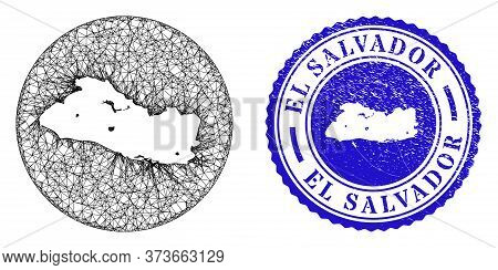 Mesh Hole Round El Salvador Map And Scratched Seal Stamp. El Salvador Map Is A Hole In A Circle Stam