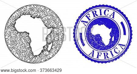 Mesh Subtracted Round Africa Map And Grunge Stamp. Africa Map Is A Hole In A Circle Stamp Seal. Web