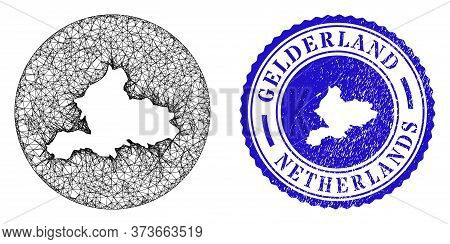 Mesh Subtracted Round Gelderland Province Map And Grunge Seal Stamp. Gelderland Province Map Is Inve