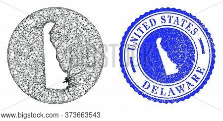 Mesh Subtracted Round Delaware State Map And Scratched Stamp. Delaware State Map Is Subtracted From